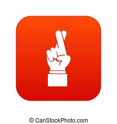 Fingers crossed icon digital red