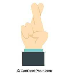 Fingers crossed icon, flat style