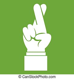 Fingers crossed icon green