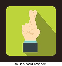 Fingers crossed icon in flat style