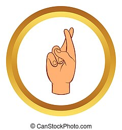 Fingers crossed vector icon, cartoon style