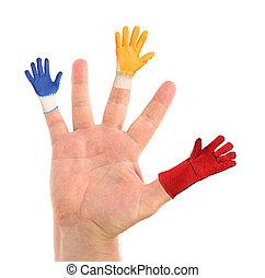 fingers., différent, gants, main