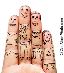 Fingers Family isolated on white background
