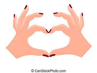 Fingers folded in the shape of a heart. Isolated vector