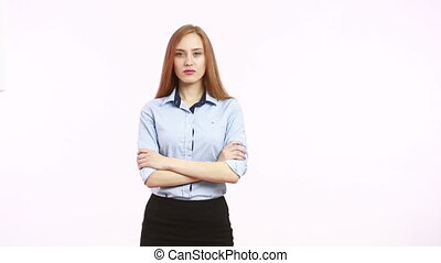 fingers folded pyramid. superiority. girl in blous. Isolated...