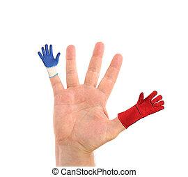 fingers., gants, deux, main