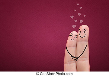 Fingers in love. - Valentine's day concept. Happy fingers in...