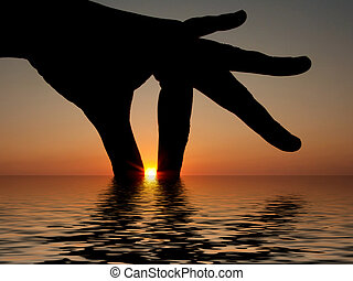 Fingers in the sea