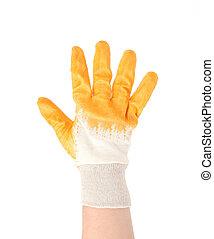 fingers., kiállítás, öt, kesztyű, kéz