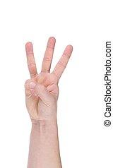 fingers., main., trois, homme