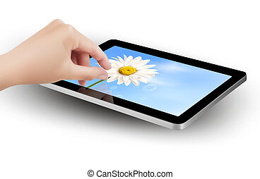 Fingers pinching to zoom tablet