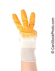 fingers., projection, gloved, trois, main