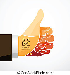 fingers shape good ok jigsaw banner . concept infographic...