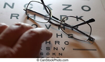 Fingers tapping on eye vision chart