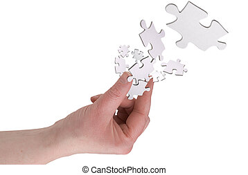 Fingers with puzzle
