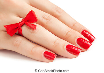 fingers with red manicure isolated - Hands with red manicure...