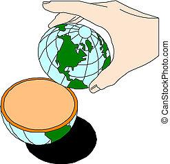 fingertip, segurando mão, terra