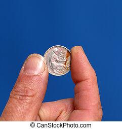 fingrar, hålla, gammal, mynt, från, österrike