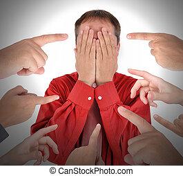 fingrar, pekande, med, klander, skam
