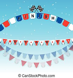 Finish and start flags with confetti