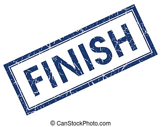 finish blue square stamp isolated on white background