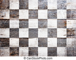 Finish flag - Checkered finish flag painted on grungy wood...