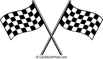 finish flag - two black checkered flag crosswise