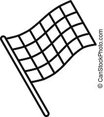 Finish flag icon, outline style