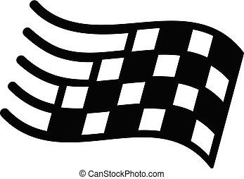 Finish flag icon, simple black style