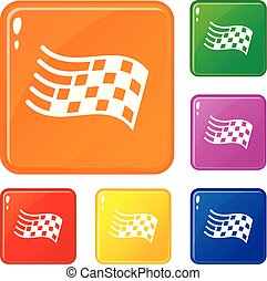 Finish flag icons set vector color