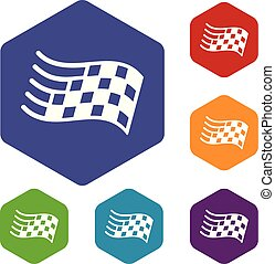Finish flag icons vector hexahedron