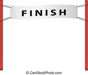 Finish flag in retro design on white background