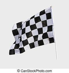 Finish flag for racing car isolate on white
