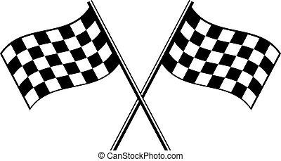 finish flag - two black checkered flag crosswise