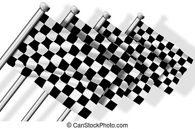 A group of four black and white finish flags