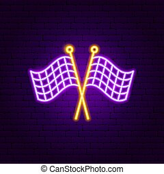 Finish Flags Neon Sign. Vector Illustration of Sport Promotion.