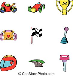 Finish icons set, cartoon style