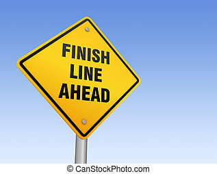 finish line ahead road sign 3d illustration