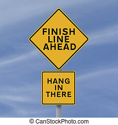 Finish Line Ahead - A road sign announcing the finish line...