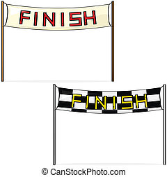 Finish line - Cartoon illustration of two different styles ...