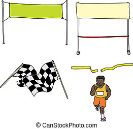 Finish Line Cartoons - Runner and finish line series on...