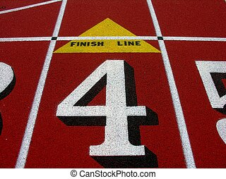 Finish line. - Finish line on running track.