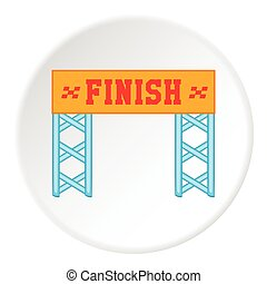 Finish line icon, cartoon style