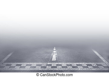 Finish line racing car driving the fog road