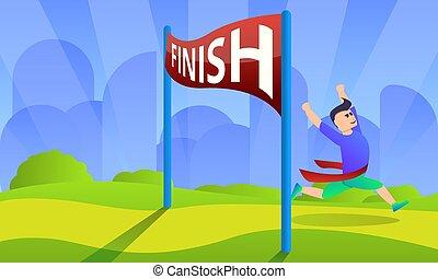Finish marathon concept background, cartoon style