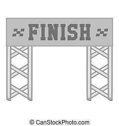 Finish race gate icon, black monochrome style