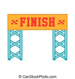 Finish race gate icon, cartoon style