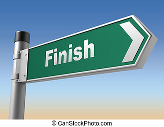 finish road sign