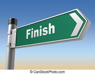 finish road sign