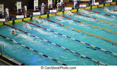 Finish sportsmen swim crawl on open championship of swimming